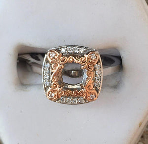 Vintage Look Two Tone Halo Engagement Ring Mounting - 14kt White Gold & Rose Gold