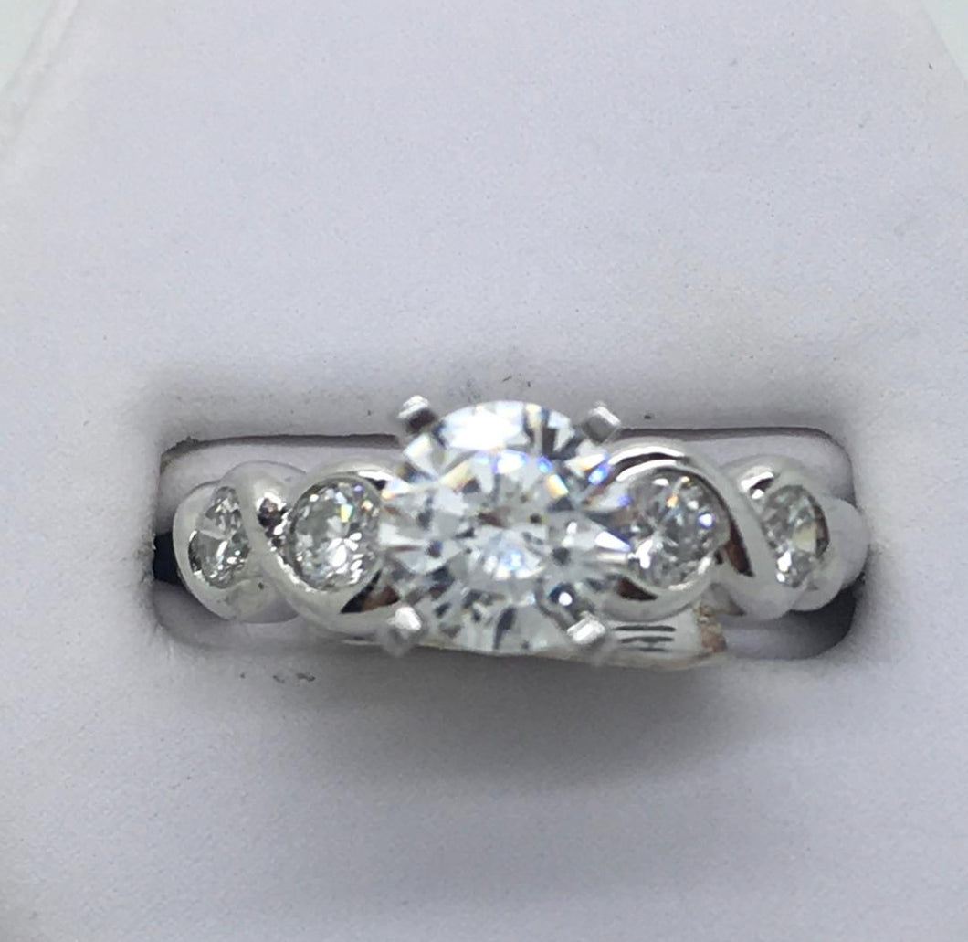 Scrolled Engagement Ring Mounting - Platinum