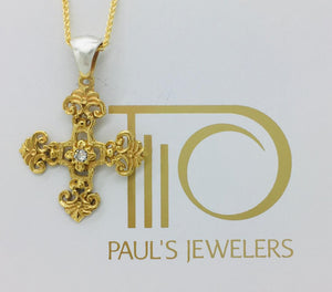 Filigree Byzantine Orthodox Cross - 14kt Gold with Sterling Silver Bale and Center Diamond