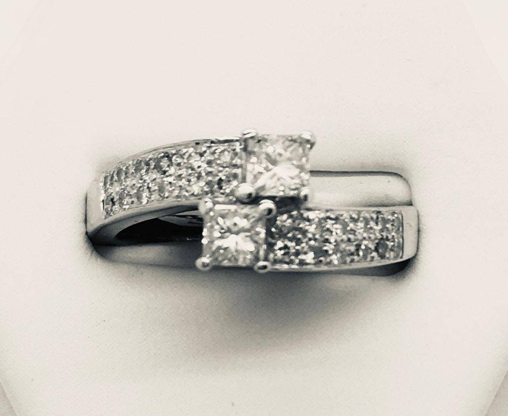 His & Hers Princess Cut Diamond Engagement Ring - 14kt White Gold