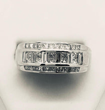 Load image into Gallery viewer, Combination Princess Cut & Baguette Multi Diamond Wedding Band - 14kt White Gold