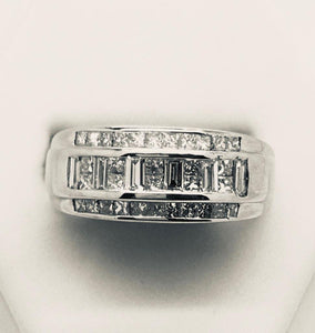 Combination Princess Cut & Baguette Multi Diamond Wedding Band - 14kt White Gold