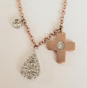 Rose Gold Cross with Center Diamond and Two Diamond Charms