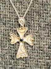Load image into Gallery viewer, Melissani  Byzantine Orthodox Cross, Sterling Silver with 14kt Beads and Sapphire