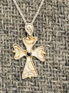 Melissani  Byzantine Orthodox Cross, Sterling Silver with 14kt Beads and Sapphire