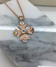 Load image into Gallery viewer, Mary's Byzantine Orthodox Cross - Two Tone14kt Rose Gold & Yellow Gold  with Family Gemstones