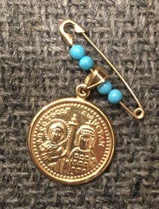 Saints Constantine and Helen Filahto with Blue Beads