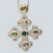 Load image into Gallery viewer, Eleni's Byzantine Orthodox Cross - Two Tone 14kt Gold with Family Gemstones