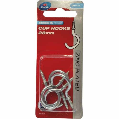 Zenith screw in cup hooks 28mm pkt(5) Zinc plated