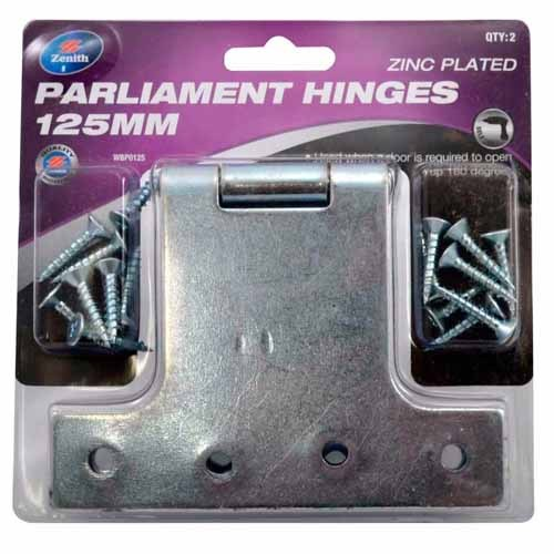 Parliament Hinges 2-pack 125mm Zenith Brand Zinc Plated