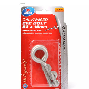 Eye Bolt 82mm galvanised 2-pack Zenith brand