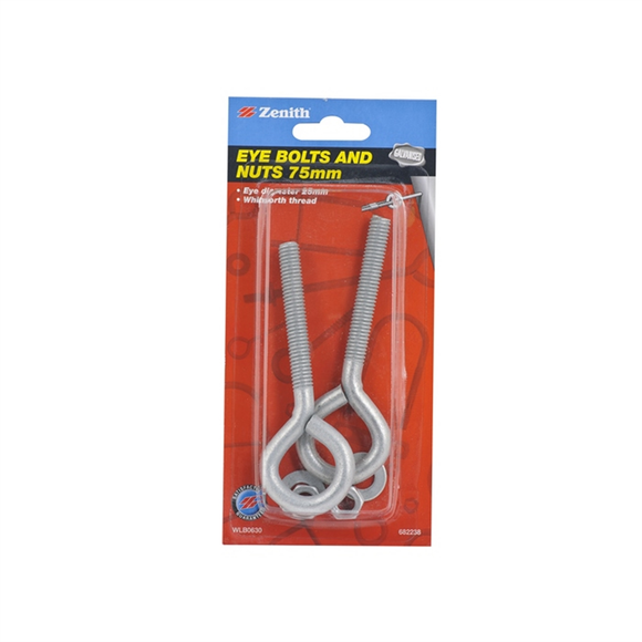 Eye Bolt 75mm x25mm galvanised solid 2-pack Zenith brand