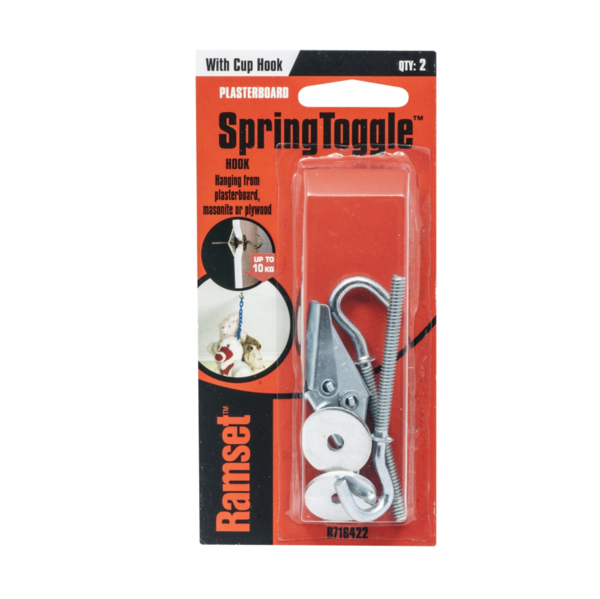 Ramset Spring Toggle Pkt(2) Plasterboard with cup hooks