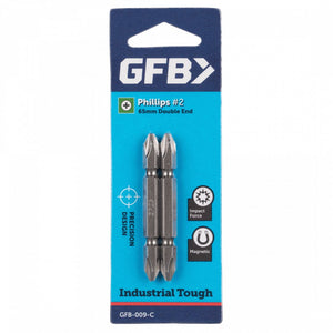 Double Ended Power Bit No 2 x 65mm Phillips 1/4in Hex Shank - 2 card ( GFB-009 )