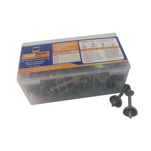 PSP 12g x 50mm Supadrive Multi Fastener galvanised - 50 Pack