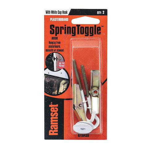 Ramset Spring Toggle Pkt(2) with white cup hook for Plasterboard