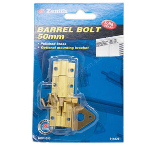 Barrel bolt 50mm Zenith brand Polished brass