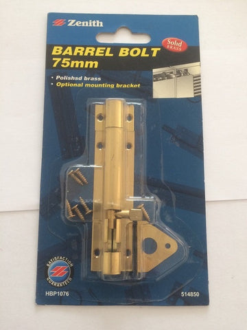 Barrel bolt 75mm Zenith brand polished brass