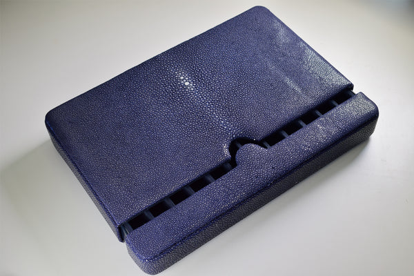 Breton - Travel Case For 12 Fountain Pens (Blue Stingray Leather)