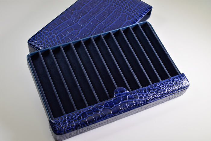 Breton - Travel Case For 12 Fountain Pens (Blue Cow Hide Croc Print)
