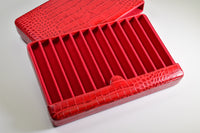 Breton - Travel Case For 12 Fountain Pens (Red Cow Hide Croc Print)