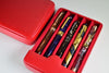 Breton - Travel Case For 5 Fountain Pens (Red Leather)