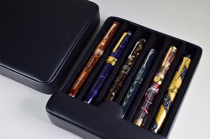 Breton - Travel Case For 6 Fountain Pens (Black Cow Hide)