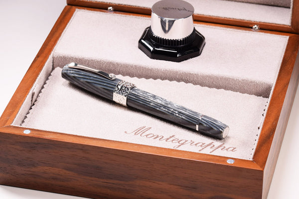 Montegrappa extra 8 otto - Shiny Lines Grey Fountain Pen - gold Nib | Pen Venture - Passion for Luxury