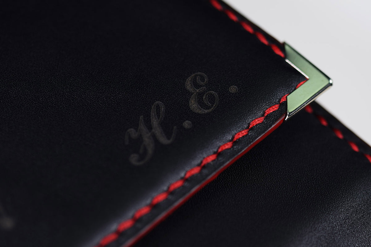 Initials Engraving for Conquistador - Leather Black and Red Pencase | Pen Venture - Passion for Luxury