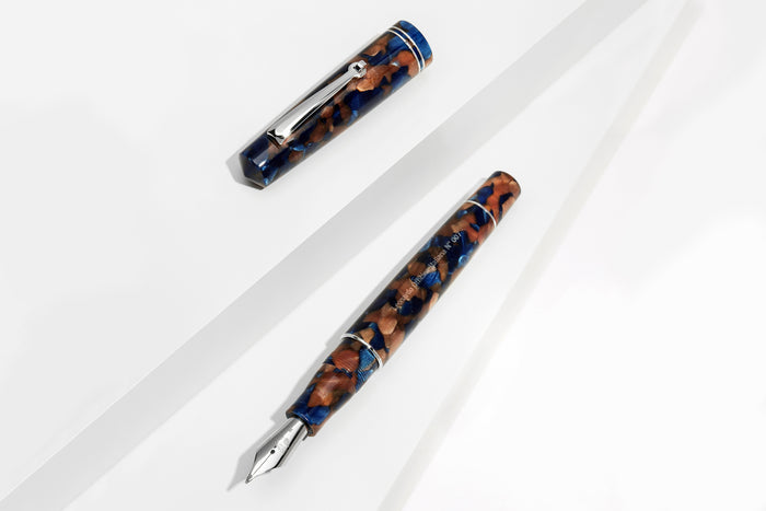 Leonardo Officina Italiana - Pietra Marina - Sea Stone Fountain Pen | Pen Venture - Passion for Luxury Rhodium Trims