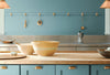 Benjamin Moore's 2021 Color of the Year, Aegean Teal, in a kitchen.