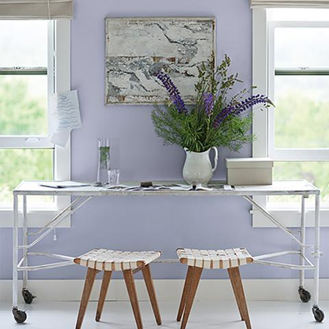 An office room painted Benjamin Moore's 2070-60 Lavendar Mist, available at Cincinnati Color Company in Ohio.