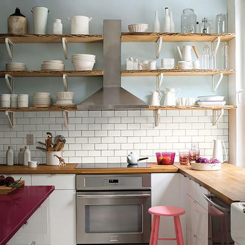 A kitchen painted with Benjamin Moore's 2131-60 Silver Ice, available at Cincinnati Color Company in Cincinnati, Ohio.