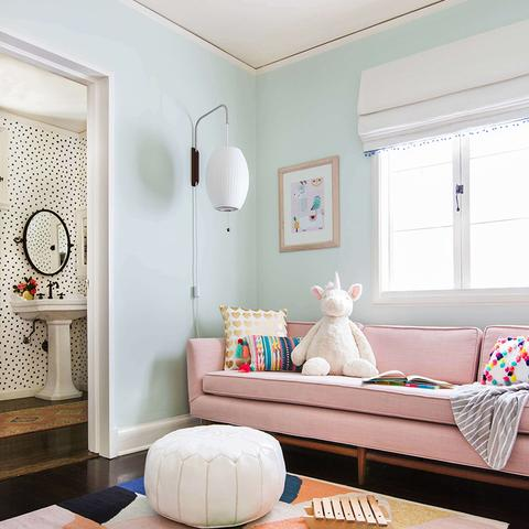 A living painted with Benjamin Moore's 842 Greencast, available at Cincinnati Color Company in Cincinnati, Ohio.
