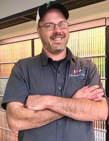 Alex Gordon, Glass Department Manager at Cincinnati Color Company's Oakley Paint and Glass location.