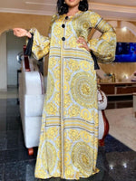 Long Sleeve Print Floor-Length Lantern Sleeve A-Line Dress