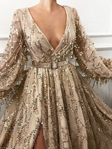 Floor-Length Sequins Long Sleeve Pullover A-Line Dress