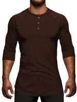 Button Casual Round Neck Slim Three-Quarter Sleeve T-shirt