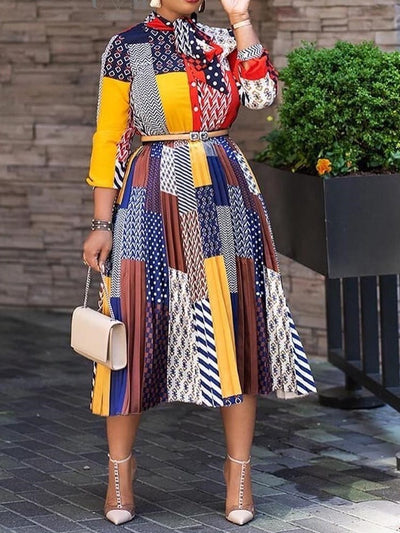 Three-Quarter Sleeve Print Mid-Calf Standard-Waist Color Block Dress