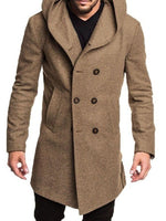 Button Hooded Plain Double-Breasted Fall Coat