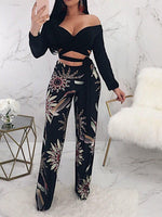 Print Loose Plant Full Length Wide Legs Casual Pants