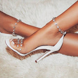 Open Toe Heel Covering Line-Style Buckle Stiletto Heel Low-Cut Upper Rhinestone Sandals