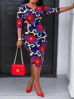 Print V-Neck Three-Quarter Sleeve Floral Bodycon Dress
