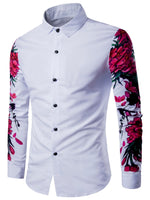 Lapel Print Plain Slim Single-Breasted Shirt