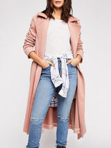 Solid Color Loose Lapel Lace Up Overcoat