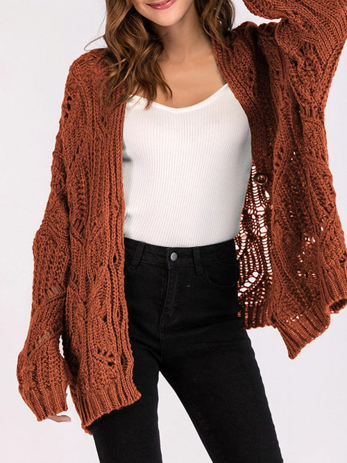 V-neck Hollow Raglan Sleeve Loose Knitwear
