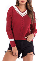 V-neck Long Sleeve Striped Knitwear
