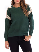 Round Neck Long Sleeve Striped Knitwear