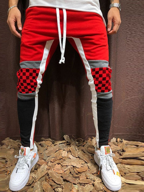 Contrast Stitching Strappy Men's Casual Pants