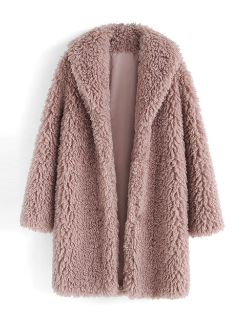 Pink  Wrapped Long Sleeves Overcoat